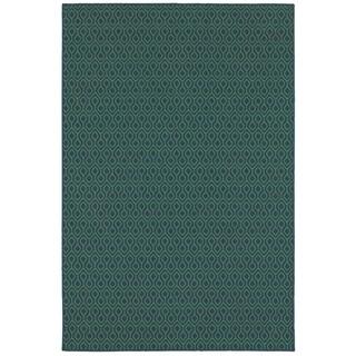 Simple Geometric Navy/ Green Indoor Outdoor Area Rug (6'7 x 9'6)