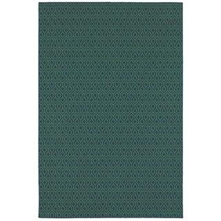 """StyleHaven Geometric Navy/Green Indoor-Outdoor Area Rug (6'7x9'6) - 6'7"""" x 9'6"""""""
