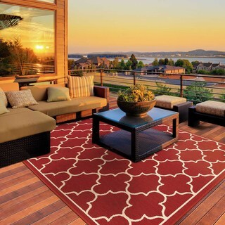 StyleHaven Lattice Red/Ivory Indoor-Outdoor Area Rug - 6'7 x 9'6