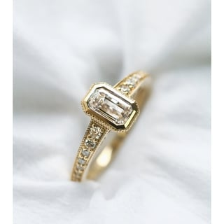 Annello by Kobelli 14k Yellow Gold 1 1/4ct TDW Emerald Cut Diamond Antique Ring (H-I, SI)