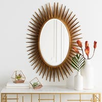 "Haley Sunburst Oval Accent Mirror - 30"" x 42"" - Antique Gold"