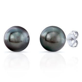 14k White Gold Black Sea Pearl Stud Earrings (9- 9.5mm)