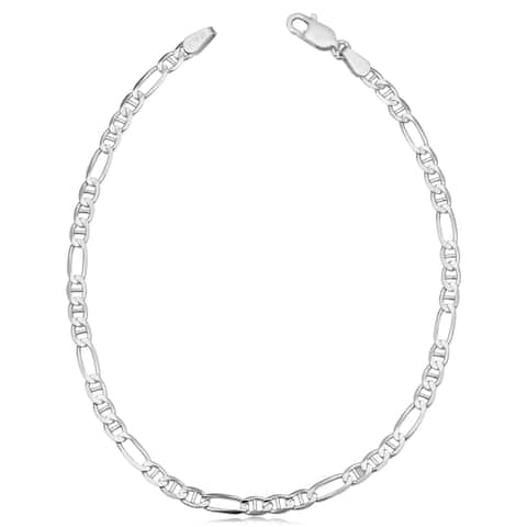 Sterling Silver Concave Figaro Bracelet (8.5 inches)