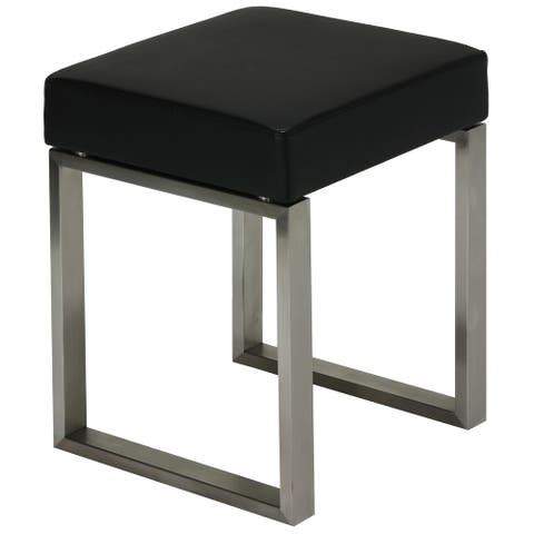 Strick & Bolton Stephen Stainless Steel Black Vinyl Stool