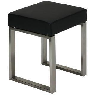 Cortesi Home Tilio Stainless Steel Black Vinyl Stool
