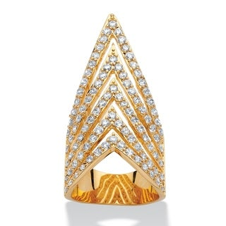 PalmBeach 14k Yellow Goldplated 3 1/5ct Round Cubic Zirconia Multi-row Chevron Cocktail Ring Bold Fashion
