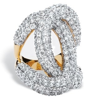 14k Yellow Goldplated 6 1/10ct Cubic Zirconia Designer-Inspired Interlocking Loop Ring Bol