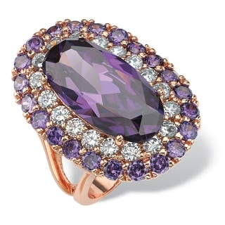 Rose Goldplated 22ct Oval-cut Purple Cubic Zirconia Double Halo Cocktail Ring Color Fun