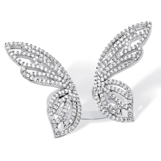 PalmBeach Platinum over Sterling Silver 1 2/5ct Pave Cubic Zirconia Adjustable Butterfly Cocktail Ring Bold Fashion
