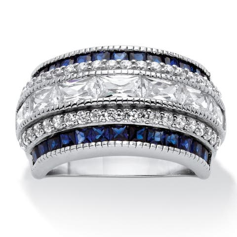 Platinum over Sterling Silver 3 1/3ct Emerald-cut Cubic Zirconia Art Deco-Inspired Ring Co