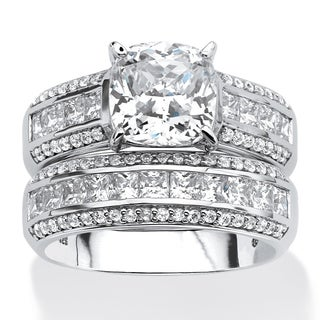 PalmBeach Platinum over Sterling Silver 3 2/5ct Cushion-cut Cubic Zirconia 2-piece Bridal Set Glam CZ