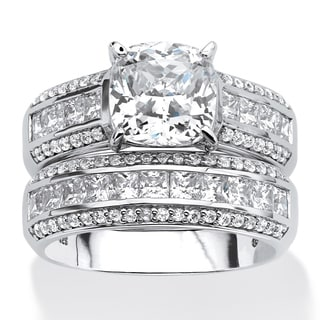 Platinum Over Sterling Silver Cubic Zirconia Bridal Ring Set White