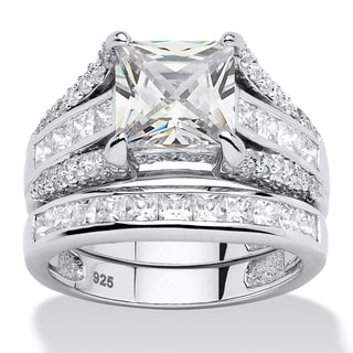 Platinum Over Sterling Silver 3 1/8ct Princess-cut Cubic Zirconia Ring Glam CZ