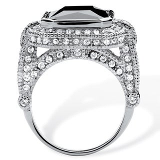 PalmBeach Platinum-Plated 14 1/4ct Emerald-cut Black Cubic Zirconia Vintage Halo Cocktail Ring Glam CZ