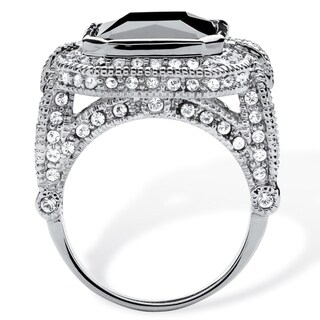 Platinum-Plated 14 1/4ct Emerald-cut Black Cubic Zirconia Vintage Halo Cocktail Ring Glam