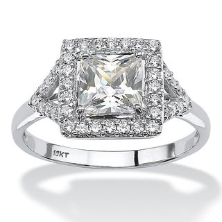 PalmBeach 10k White Gold 1 1/2ct Square-cut Cubic Zirconia Vintage-Inspired Halo Engagement Ring Classic CZ