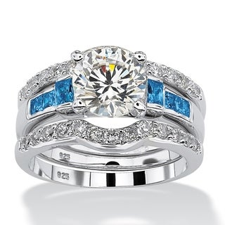 Platinum over Sterling Silver Cubic Zirconia and Sapphire Bridal Set - Blue/White