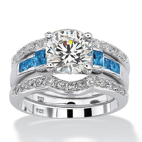 Platinum over Sterling Silver Cubic Zirconia and Sapphire Bridal Set - Blue