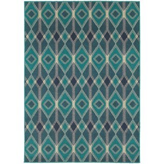 Global Influence Geometric Diamond Blue/ Teal Area Rug (6'7 x 9'6)