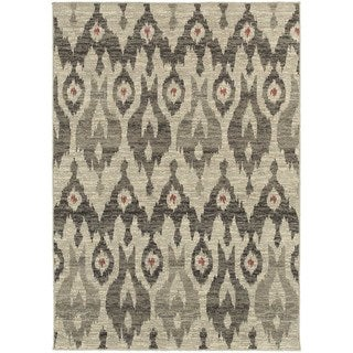 "Global Influence Tribal Ikat Ivory/ Grey Rug (6'7"" X 9'6"")"