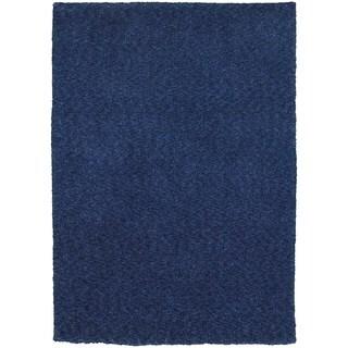 """Cozy Indulgence Heathered Blue Shag Rug - 6'6"""" X 9'6"""""""