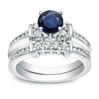 Auriya 14k Gold 3/5ct Sapphire and 2/5ct TDW Diamond Engagement Ring Set
