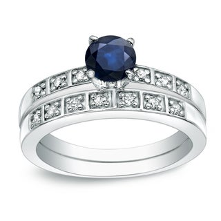 Auriya 4 5ct Blue Sapphire And 1 5ctw Diamond Engagement Ring Set 14k Gold