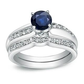 Auriya 14k Gold 3/4ct TDW Blue Sapphire and 1/4ct TDW Round Diamond Bridal Ring Set (H-I, I1-I2)