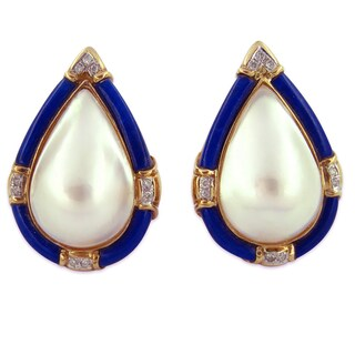 Kabella Luxe Japanese Mabe Pearl Lapis 1/5ct TDW Diamond Dangle Earrings (G-H, I1-I2)