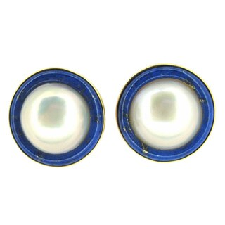Kabella Japanese Mabe Pearl and Lapis Gemstone Stud Earrings (14-15mm)
