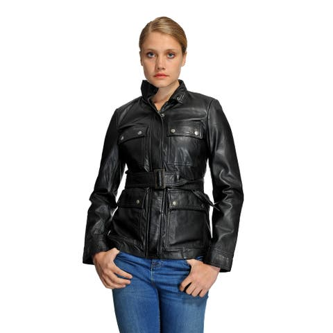 Whet Blu Women's Belted Leather Jacket