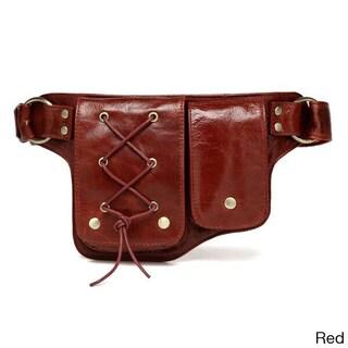 Yvette Leather Waist pack Belt Bag (Option: Burgundy - Signature)