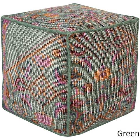 Geometric Alme Square 18-inch Wool Pouf