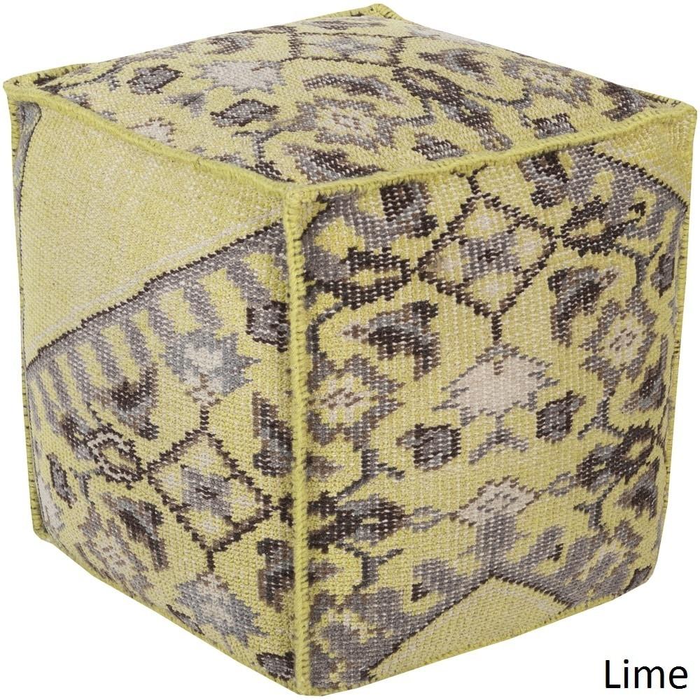 Shop Geometric Alme Square 18-inch Wool Pouf - Overstock - 10635156