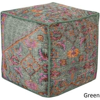 Geometric Alme Square 18 inch Wool Pouf