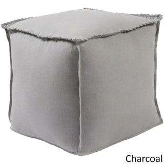 Solid Color Acton Square 18 inch Linen Pouf