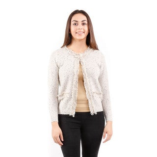 Hadari Women's Long Sleeve Open Front Tweed Sweater