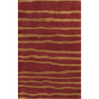 ABC Accents Stripes Weaves Rust Wool Rug
