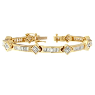 14k Yellow Gold 5 2/5ct TDW Princess and Baguette-cut Diamond Bracelet (H-I,SI1-SI2)