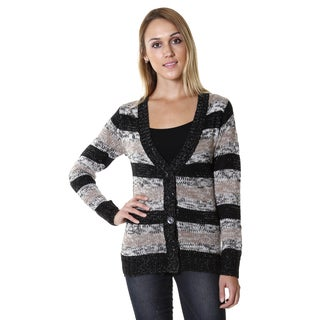 Hadari Women's Striped Button-up Cardigan