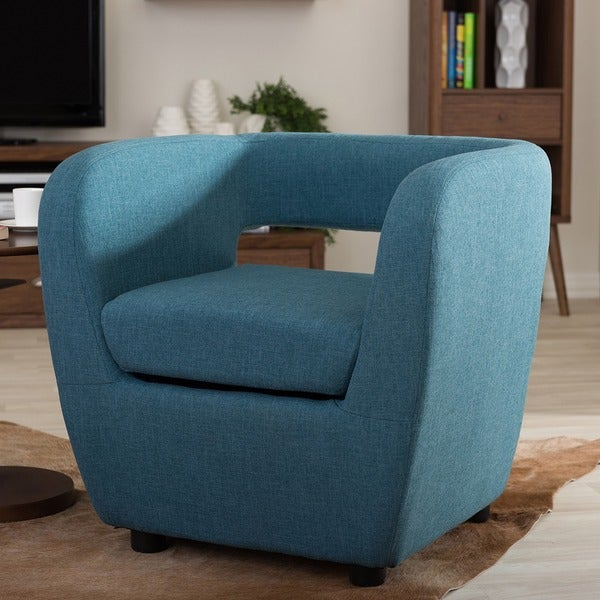 Perfect Baxton Studio Ramon Modern Blue Upholstered Accent Club Chair