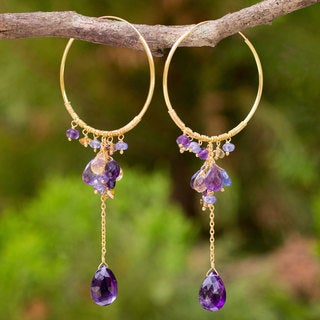 Gold Overlay 'Morning Pansies' Multi-gemstone Earrings (Thailand)