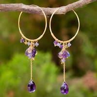 Handmade Gold Overlay 'Morning Pansies' Multi-Gemstone Earrings (Thailand)