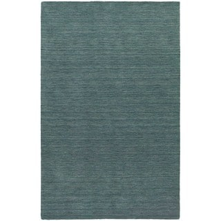 Handwoven Wool Heathered Blue Area Rug (5' x 8')
