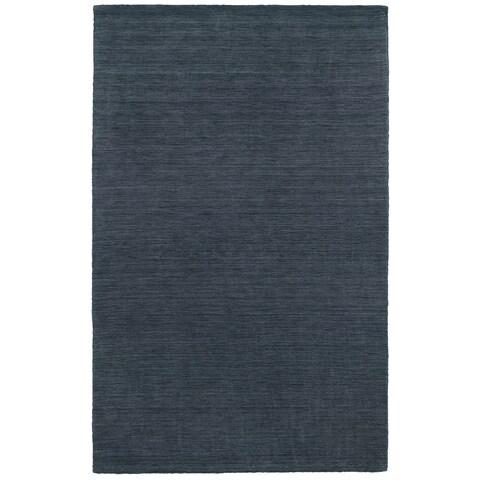 Handwoven Plush Wool Heathered Navy Rug (5' X 8') - 5' x 8'
