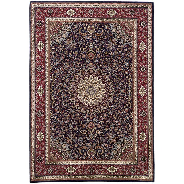 "Updated Old World Persian Flair Blue/ Red Rug (5'3"" X 7'9"")"