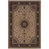 Updated Old World Persian Flair Ivory/ Black Area Rug - 5'3 x 7'9