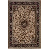 """Updated Old World Persian Flair Ivory/ Black Area Rug (5'3 x 7'9) - 5'3"""" x 7'9"""""""