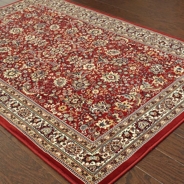 "Updated Old World Persian Flair Red/ Ivory Rug (5'3"" X 7'9"")"