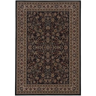 """Updated Old World Persian Flair Black/ Ivory Rug (5'3"""" X 7'9"""")"""